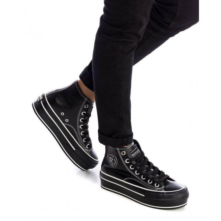 Zapatillas Refresh 076548 efecto piel con plataforma en negro - Querol online