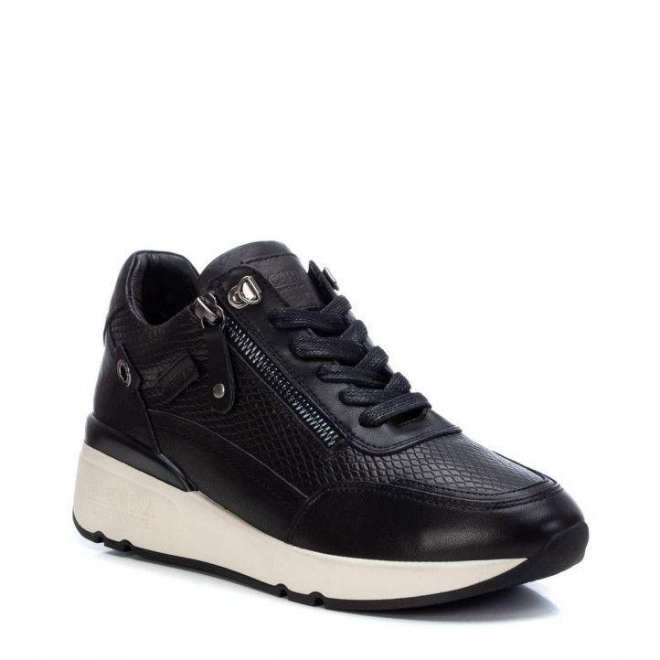Zapatillas Carmela 067968 negras con piel efecto serpiente - Querol online
