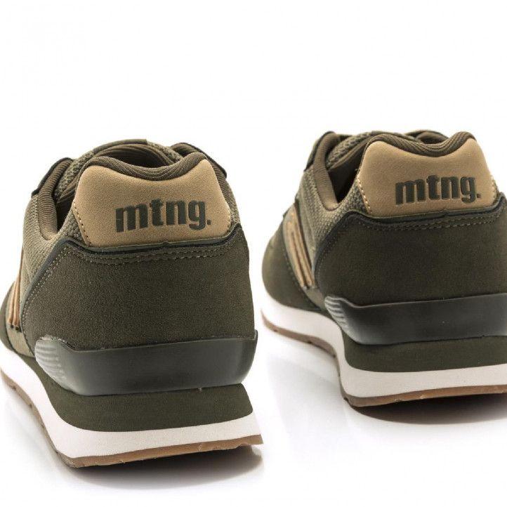 Zapatillas deportivas Mustang en color verde militar combinada con detalles en beige - Querol online