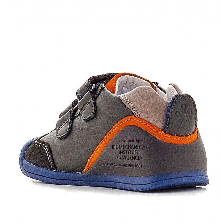 Zapatos abotinados Biomecanics grises con detalles naranja y azules - Querol online