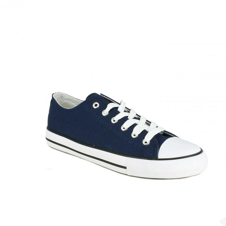 zapatillas lona LOBO azules bajas con rayas - Querol online