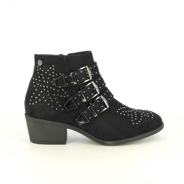 botins de taló XTI negres amb tatxes i sivelles - Querol online