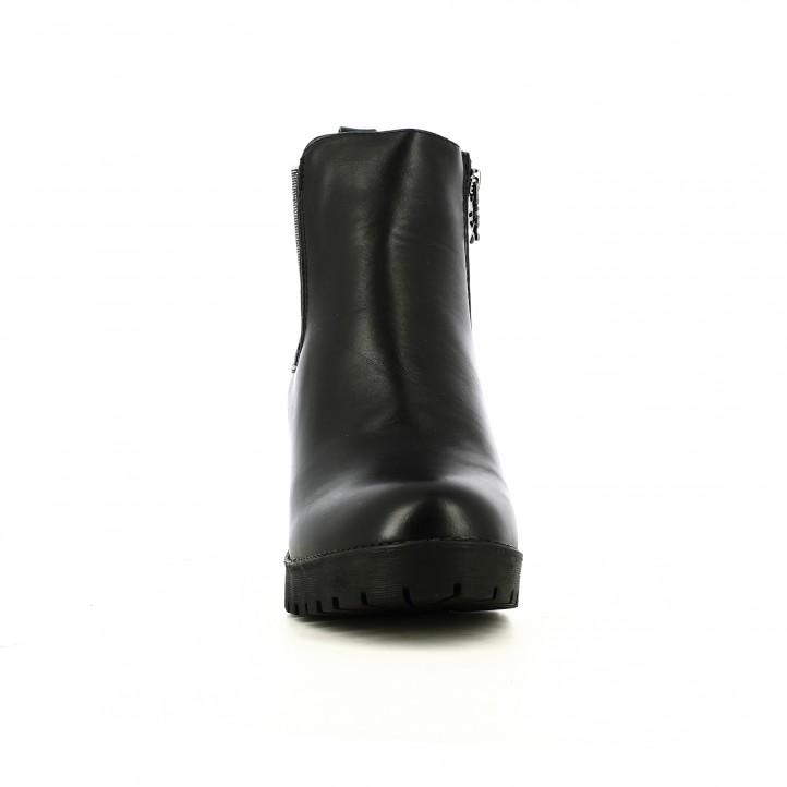 botins de taló XTI chelsea negres amb elàstics platejats - Querol online