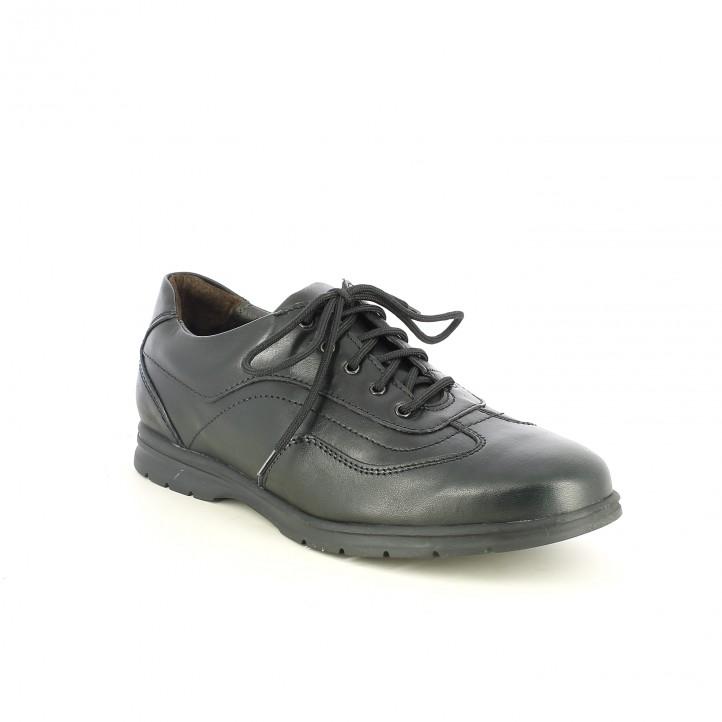 sabates sport ZEN negres de pell amb cordons - Querol online
