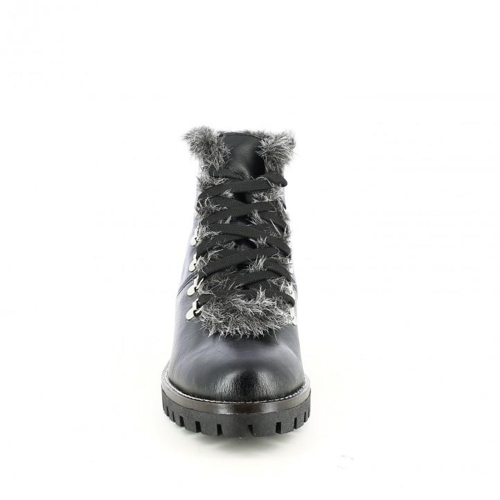 botins de taló REDLOVE negres de pell amb pèl gris - Querol online