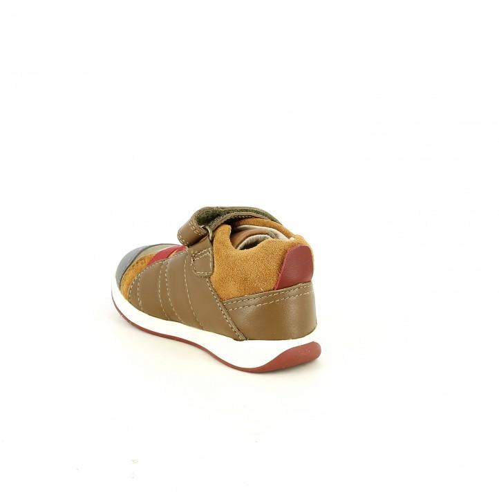 Botes GARVALIN marrons de pell amb gomes vermelles - Querol online