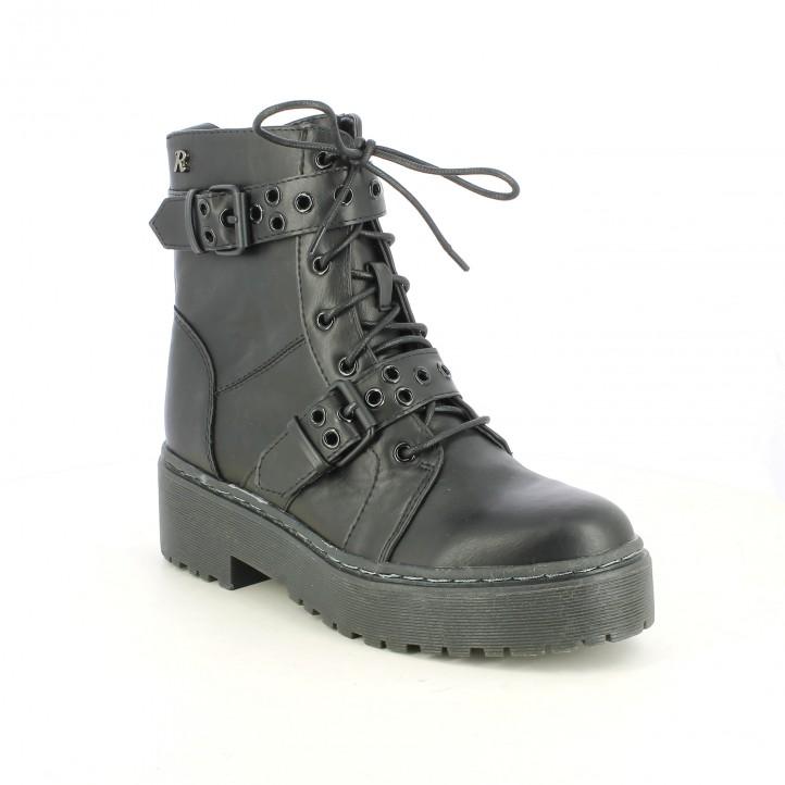 botines tacón REFRESH FOOTWEAR negros sintéticos con hebillas - Querol online