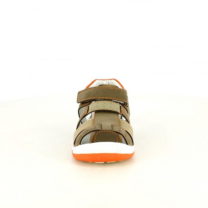 sandàlies K-Tinni tancades marrons i taronges amb velcro - Querol online