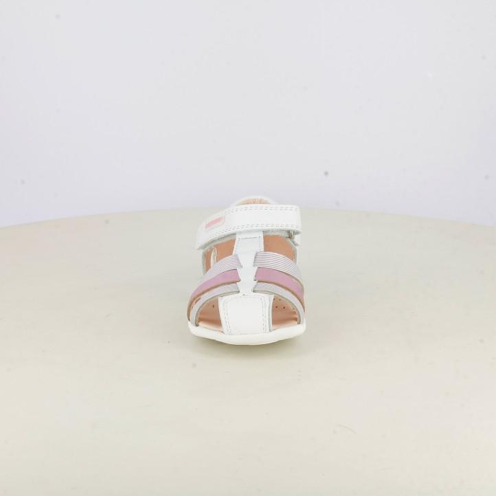 sandalias Pablosky blancas y rosas con velcros - Querol online