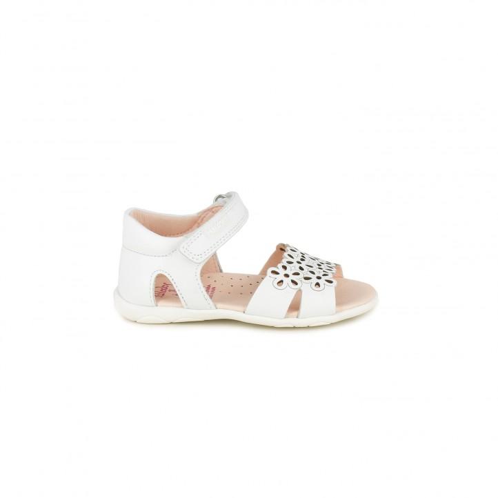 sandalias Pablosky blancas de piel con velcro y detalle floral - Querol online