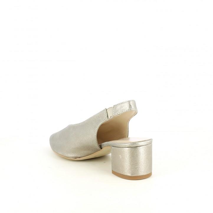 Sabates de taló Redlove gris metal·litzat de punta amb elàstic al turmell - Querol online