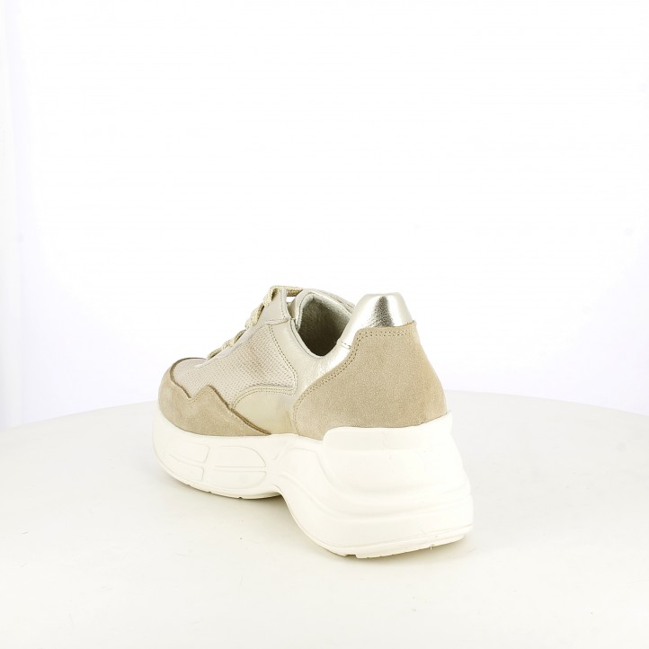 Zapatillas deportivas Redlove doradas con plataforma y cordones - Querol online