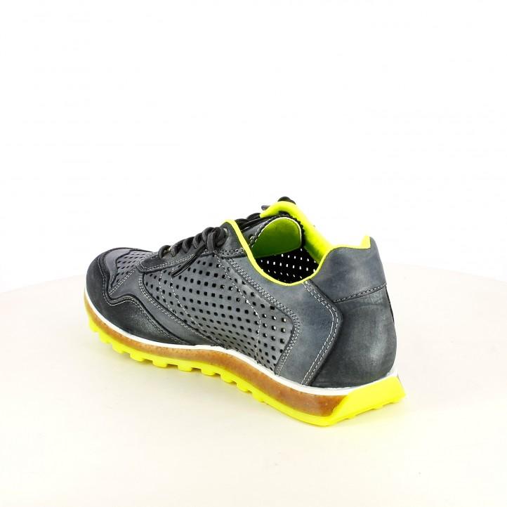 Zapatos sport Cetti grises con cordones elásticos y orificios - Querol online