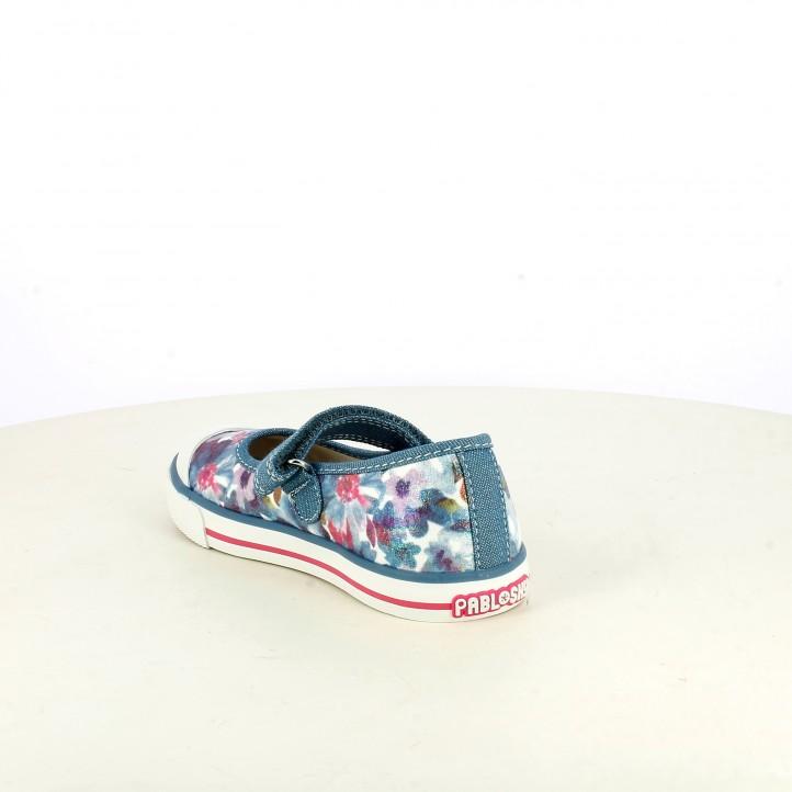 Merceditas Pablosky azules con estampado floral - Querol online