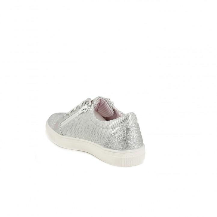 Zapatillas deporte QUETS! gris metalizado con cordones y cremallers laterales - Querol online