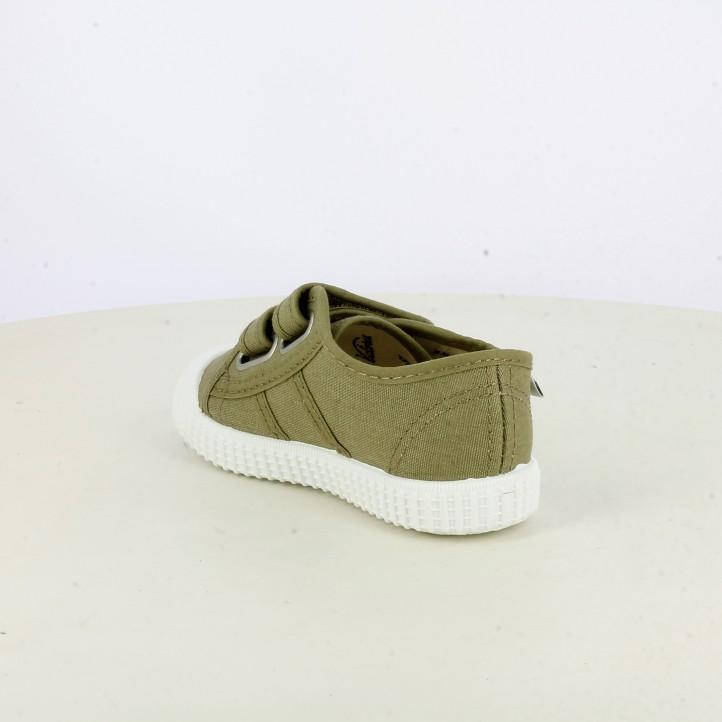 Zapatillas lona Victoria verdes con suela blanca - Querol online
