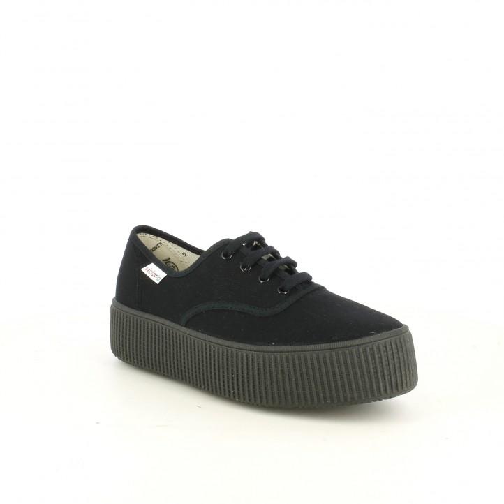 Zapatillas lona Victoria negras con plataforma y cordones - Querol online