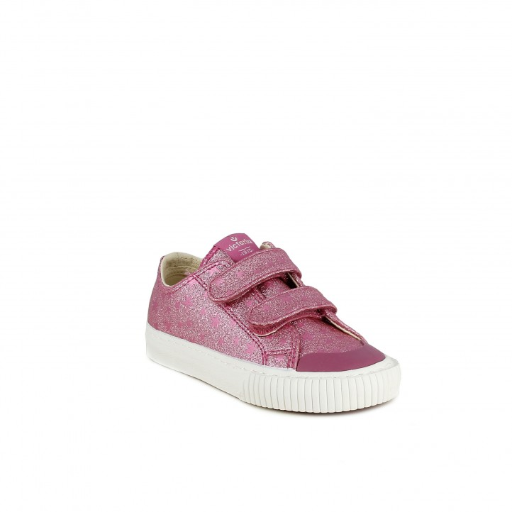 Sabatilles lona Victoria roses de purpurina amb estrelles i velcros - Querol online