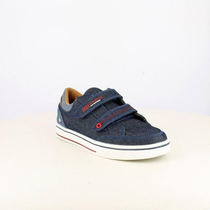 Zapatillas Xti azules tejano con doble velcro - Querol online