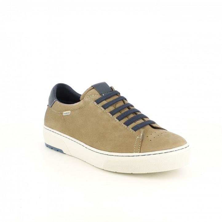 Zapatos sport Baerchi marrones y azules de piel con cordones elásticos - Querol online