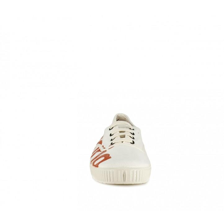 Zapatillas lona Victoria blancas con logo en rojo y cordones - Querol online
