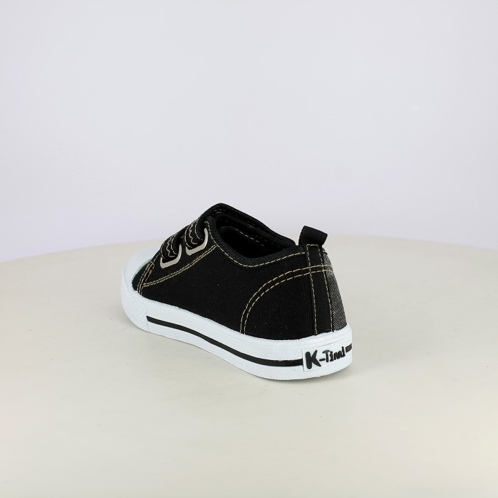 Zapatillas lona K-Tinni negras con doble velcro - Querol online