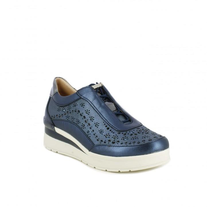 Zapatillas deportivas STONEFLY azules metalizadas de plataforma con orificios y cordones elásticos - Querol online
