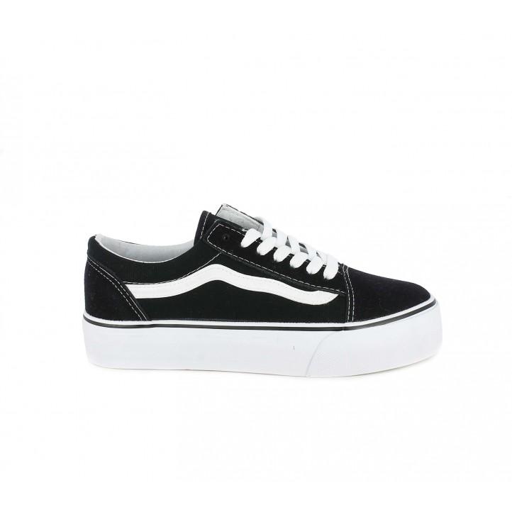 Zapatillas lona Owel negras y blancas con plataforma y cordones - Querol online