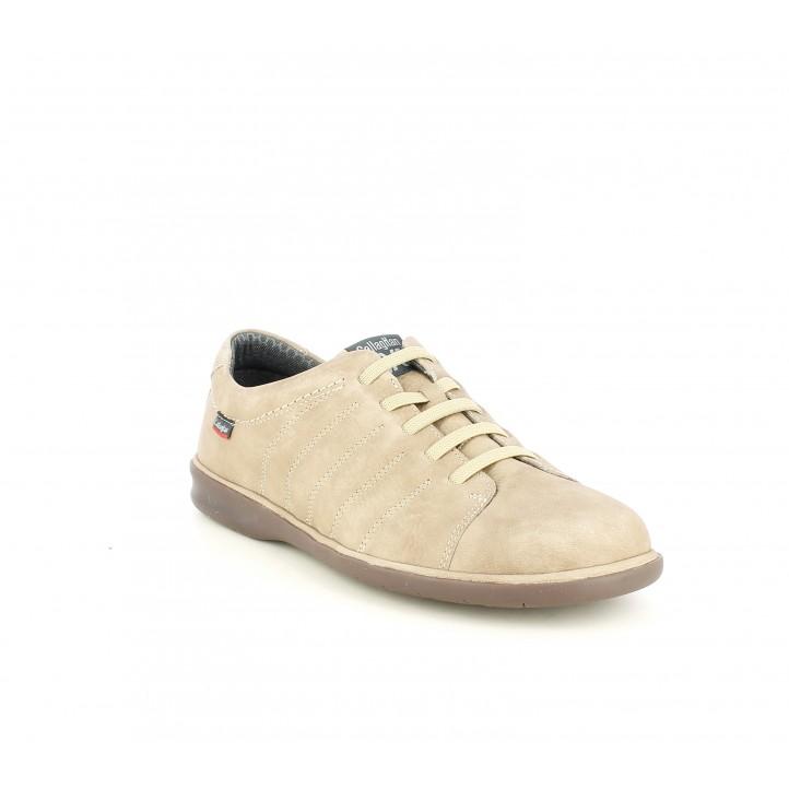 Zapatos sport Callaghan marrones de piel con cordones elásticos - Querol online