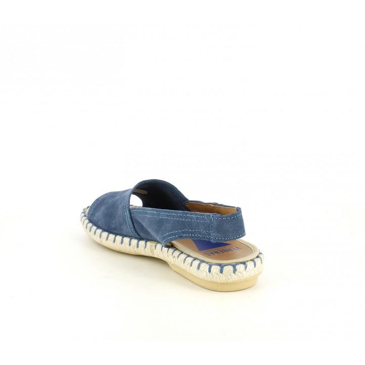 Sandalias planas VERBENAS azules de piel con suela de esparto - Querol online