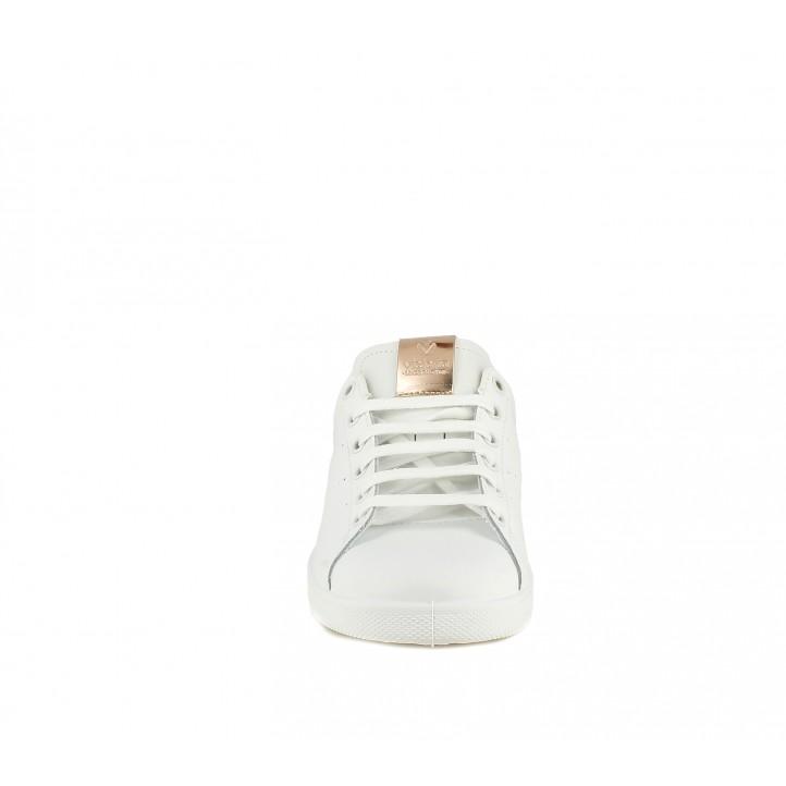 Zapatillas deportivas Victoria blancas de piel con detalles metalizados - Querol online