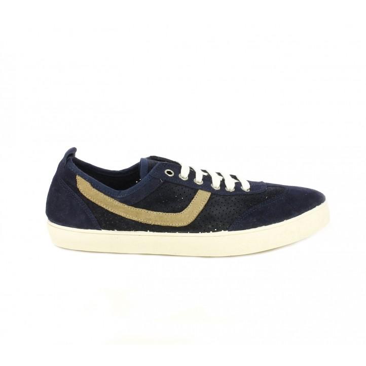 Zapatos sport Lobo de piel azules y marrones con cordones - Querol online