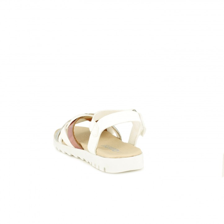 sandàlies QUETS! blanques amb detall de trena i velcro - Querol online
