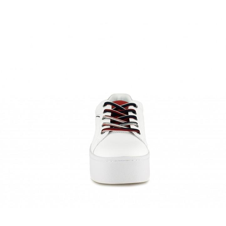 Sabatilles esportives Tommy Hilfiger blanca de plataforma amb tons blaus i vermells - Querol online