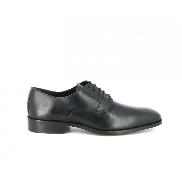 Zapatos vestir BE COOL bluchers negros de piel con cordones - Querol online