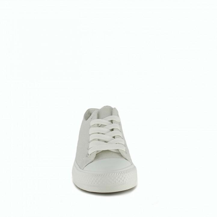 Zapatillas lona Owel blancas metalizadas bajas con cordones - Querol online