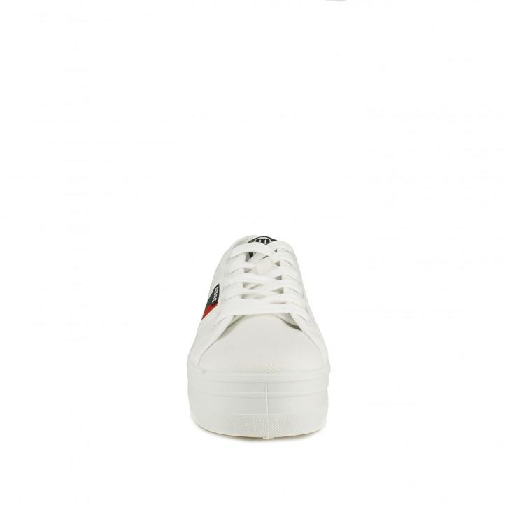 Zapatillas lona Mustang blancas de plataforma con detalle lateral - Querol online