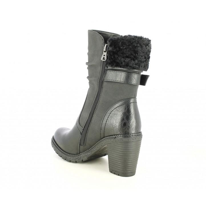 Botines Refresh negro con detalles en textil y cremallera interior - Querol online