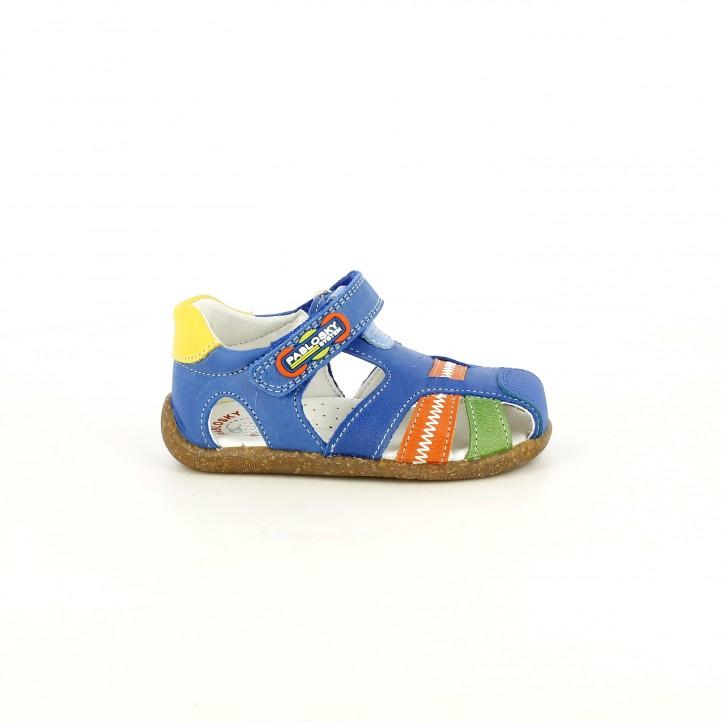 sandalias Pablosky cerradas azules, naranjas y verdes con velcro - Querol online