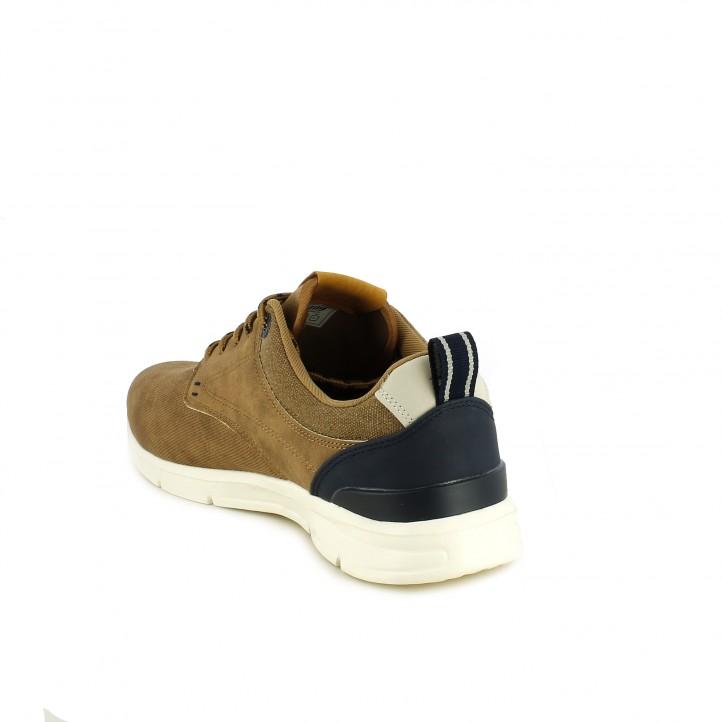Zapatos sport Mustang marrones de cordones con detalles azules - Querol online