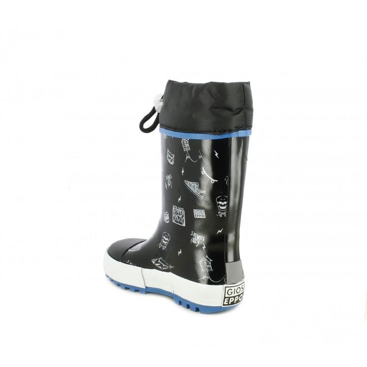 botas agua Gioseppo negras con dibujos estampados puntera reforzada - Querol online