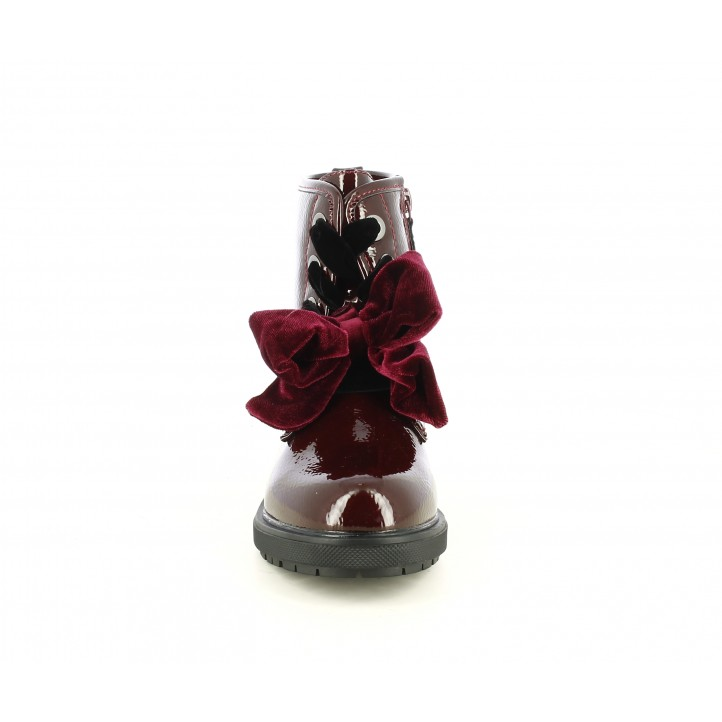 Botines Gioseppo granates de charol con lazo de terciopelo - Querol online