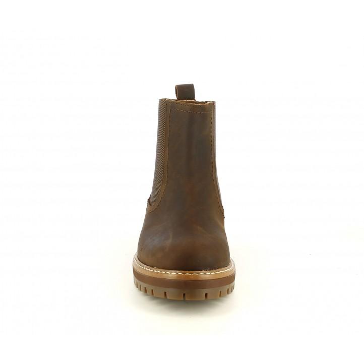 Botines Redlove chelsea de piel marron con elástico estampado - Querol online