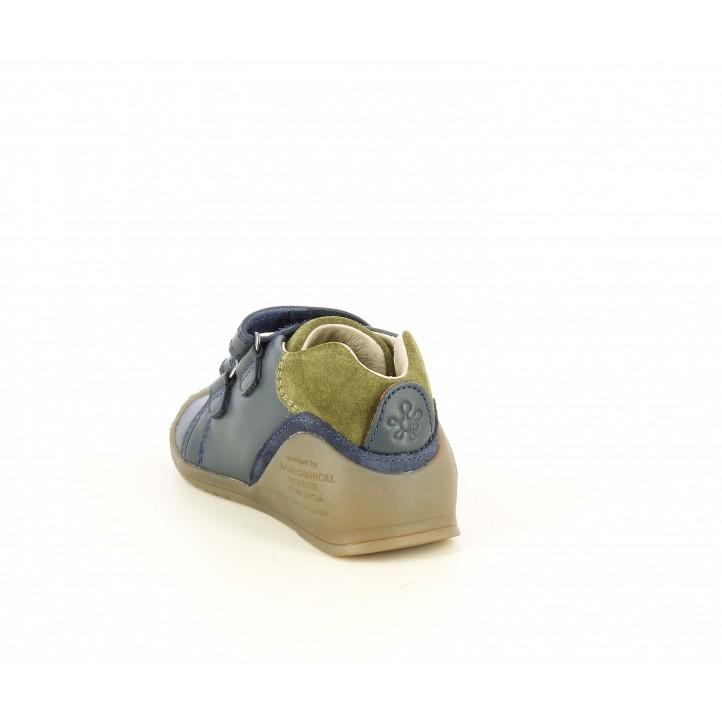 Zapatos Biomecanics azul marino con serraje en kaki, velcros y puntera reforzada - Querol online