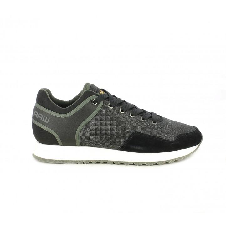 Zapatillas deportivas G-Star RAW negro en tejido tejano - Querol online