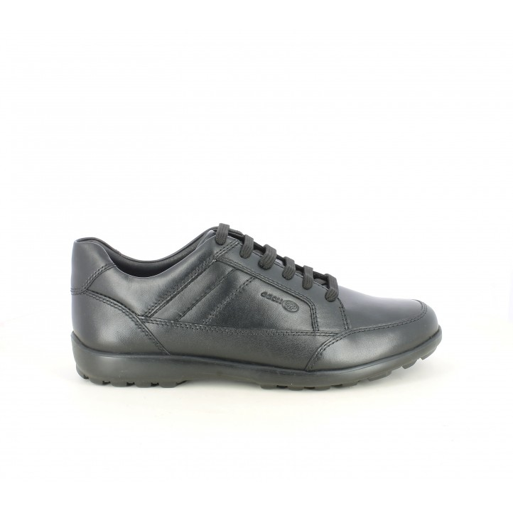 Zapatos sport Geox negros de cordones amb plantillas transpirables - Querol online