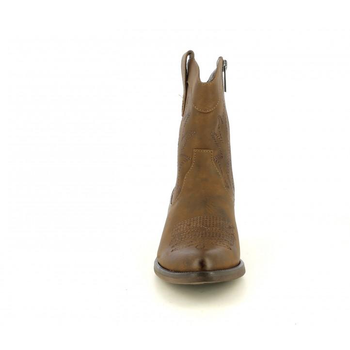 Botins Mustang marrons amb brodat en la canya i capdavantera - Querol online