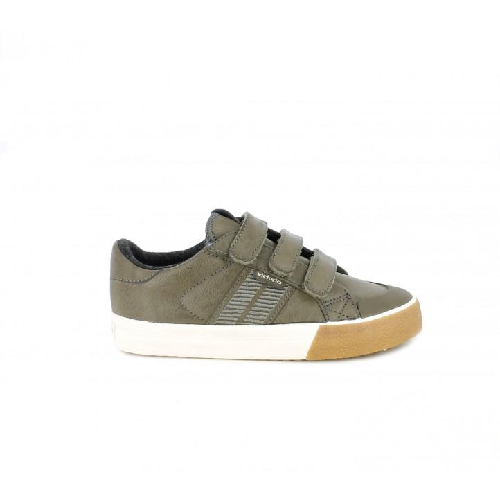 Zapatos Victoria color antracita con tres velcros - Querol online