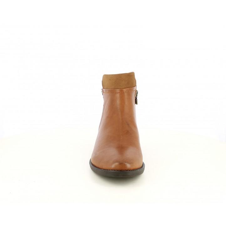 Botines tacón Maria Mare marrones con diferentes texturas - Querol online