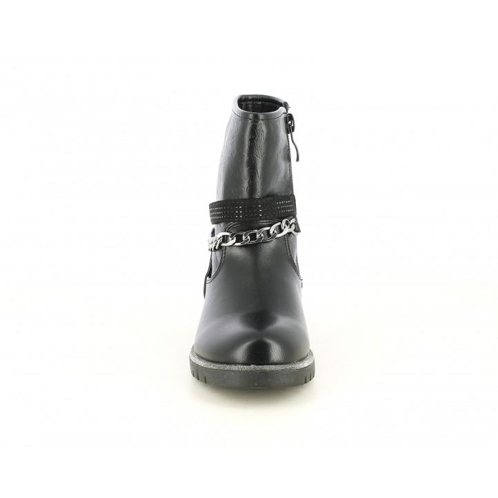 Botines CRECENDO negras con estrellas grabadas y cadena - Querol online